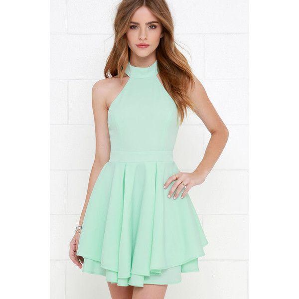 f61b5f737730 Dress Rehearsal Mint Green Skater Dress ( 59) ❤ liked on Polyvore featuring  dresses