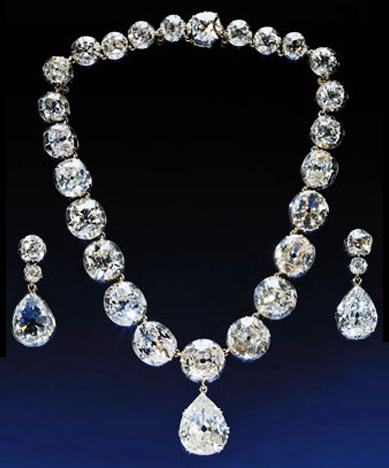 Queen Victoria's Giant Diamond Necklace and Tear Dropped Earrings, Garrard (Jewelers) London, 1858