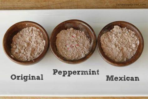 Homemade Hot Chocolate Mix Recipe (3 flavors) | snappygourmet.com #hotchocolaterecipe
