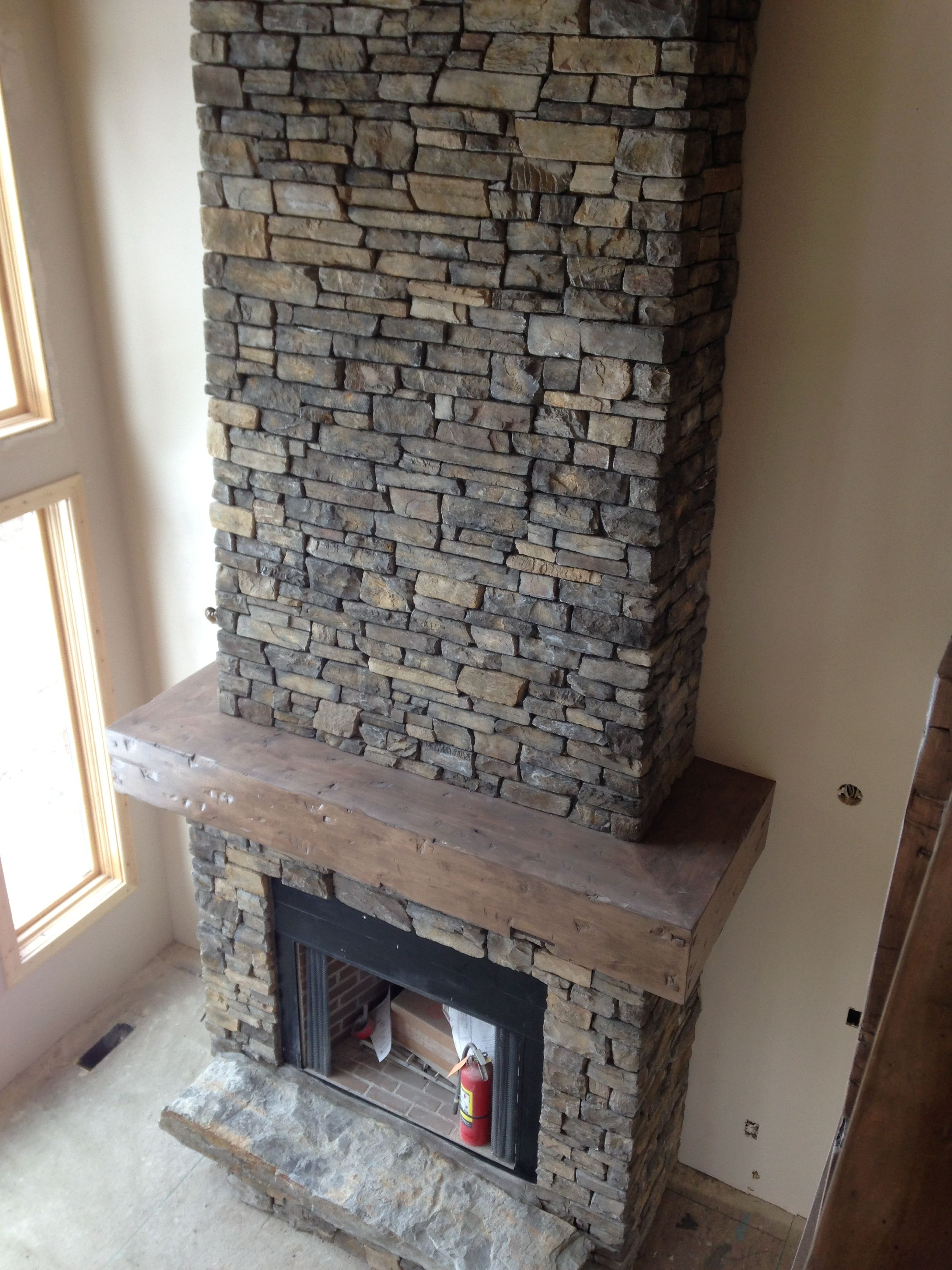 our new fireplace steeley makin did the mantle got