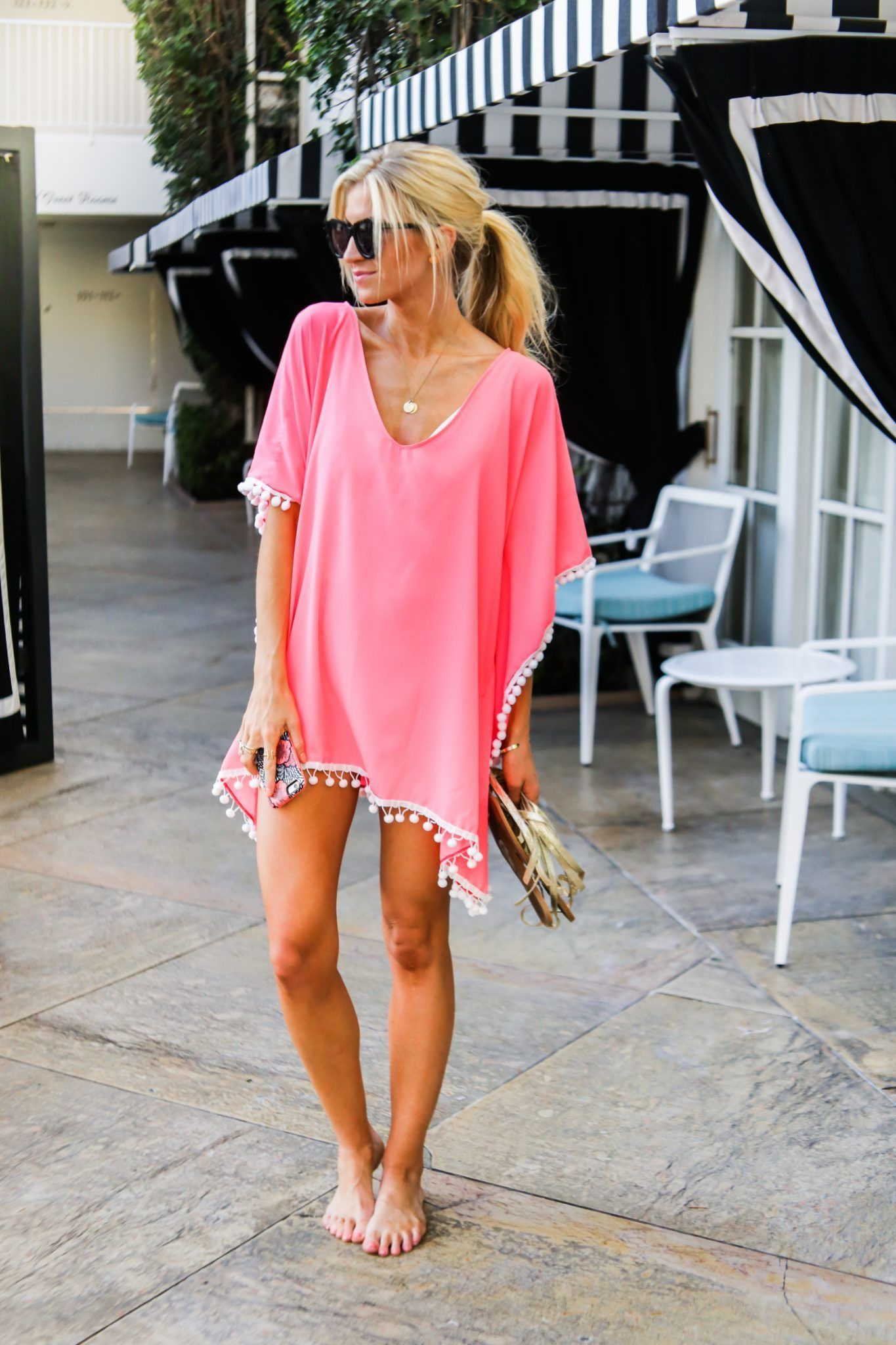 d1bbf3c59b2 Want to make your own Pom Pom Kaftan swim cover up  You so can with this  simple and easy-to-follow Pom Pom Kaftan Tutorial! See it here!
