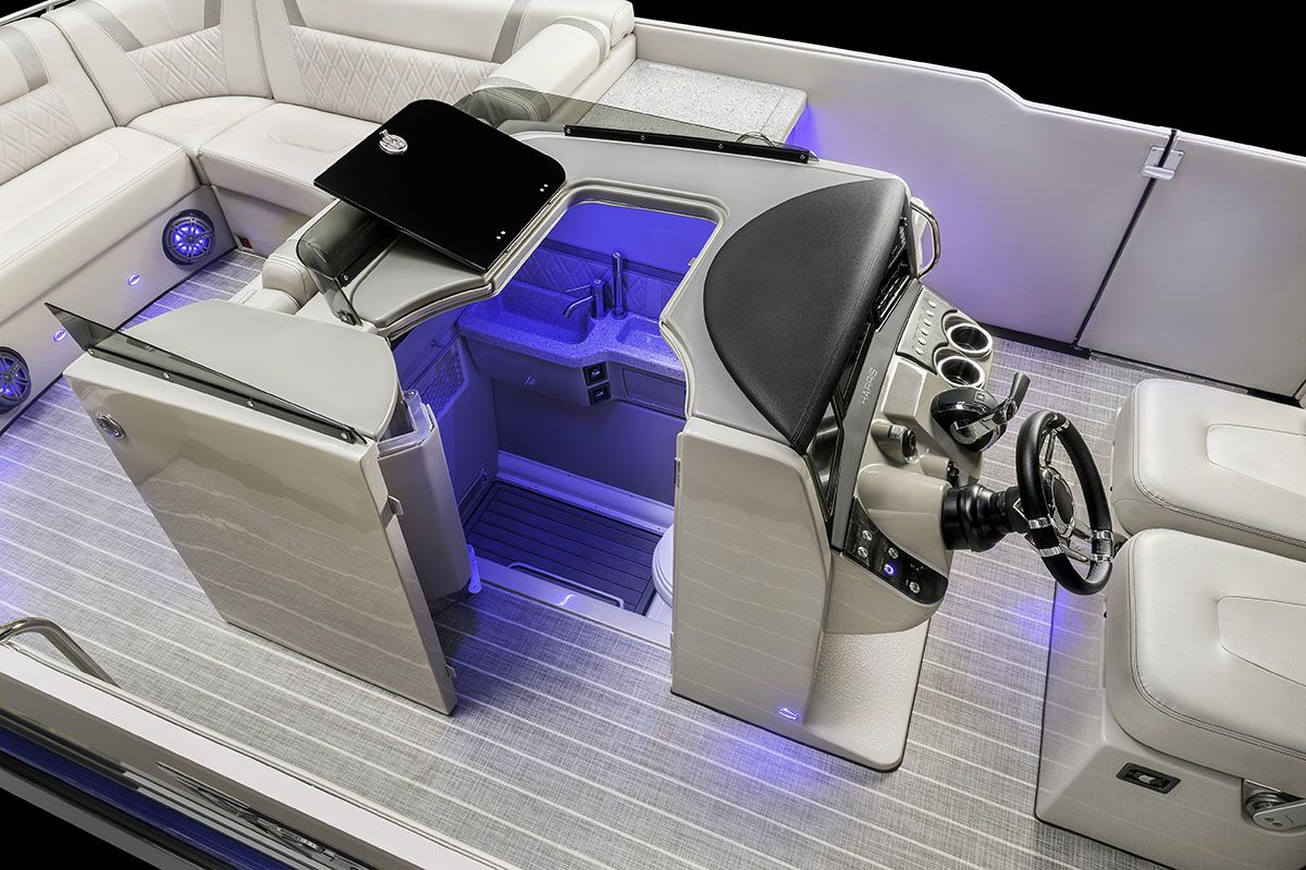 The V270 Features A Completely Integrated Patent Pending Marine Head With A Full Pump Out Toilet Sink And Shower All Conveniently Pontoon Boat Pontoon Boat