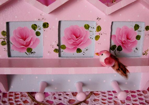 Birdhouse Peg holder Hand Painted Pink Roses Bird by pinkrose1611