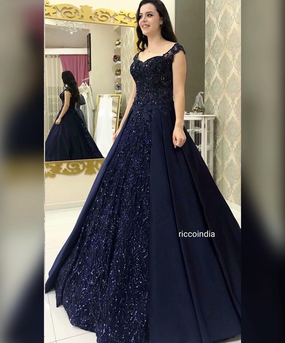 Visioninblue Custommade Bridalcouture Weddingreception Ballgown Statementbride Riccoindia Indian Gowns Dresses Cocktail Gowns Indian Wedding Gowns