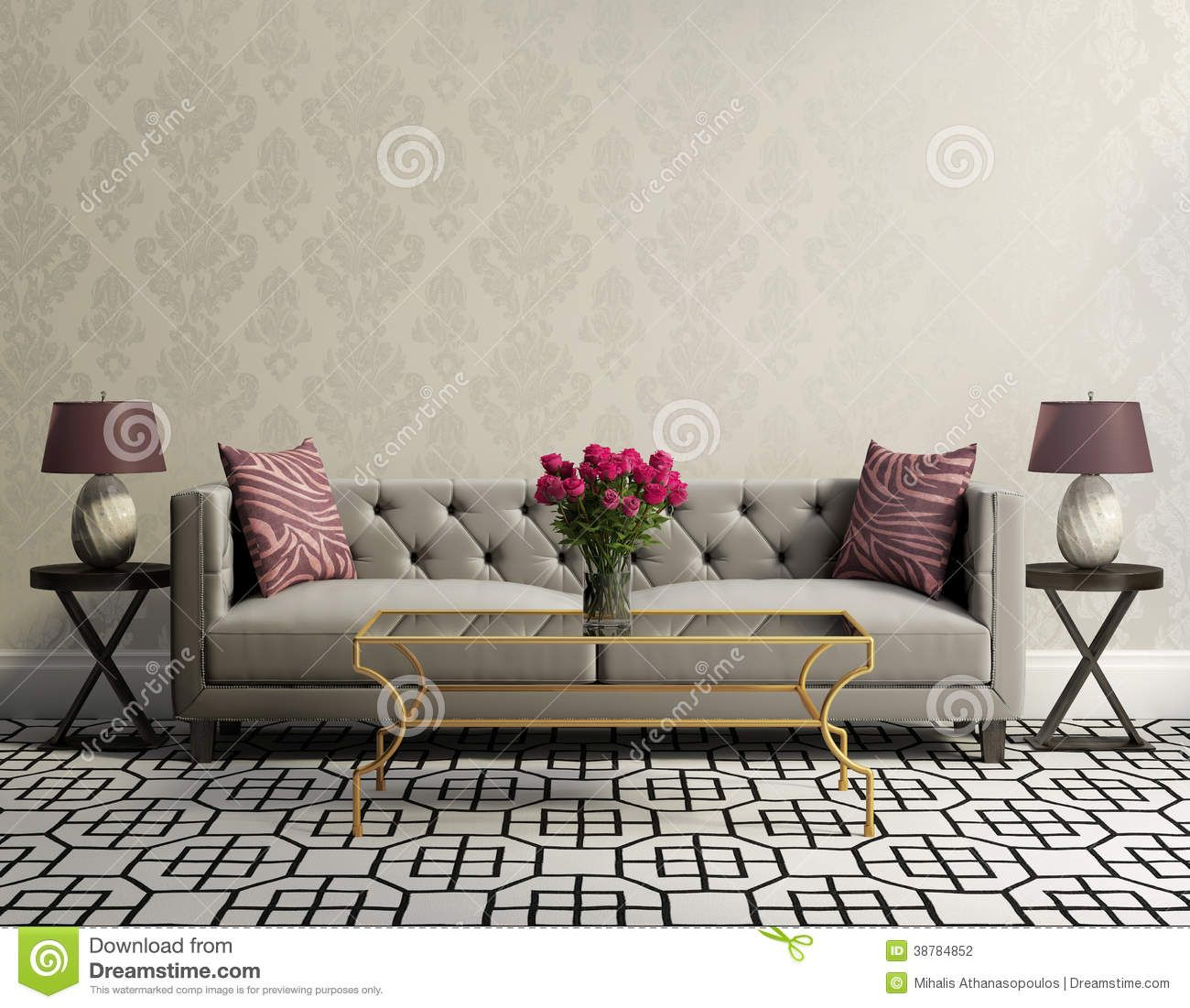 Vintage Classic Elegant Living Room With Grey Velvet Sofa Side Tables And A Vase