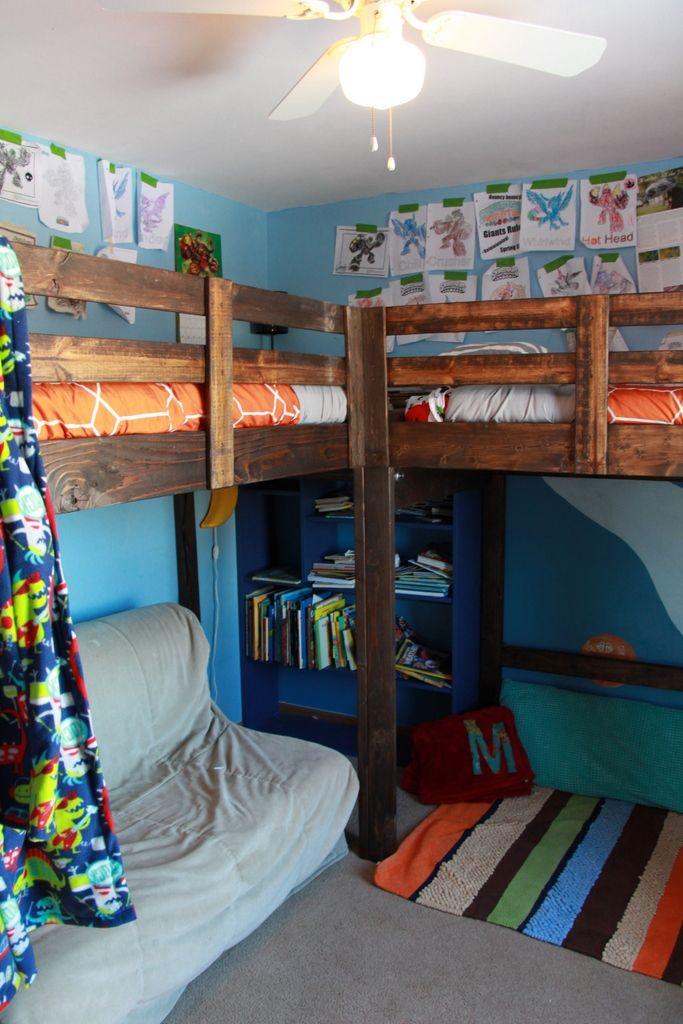 Boys Room Decor And L Shaped Loft Bed Loft Bed Plans Loft Bunk