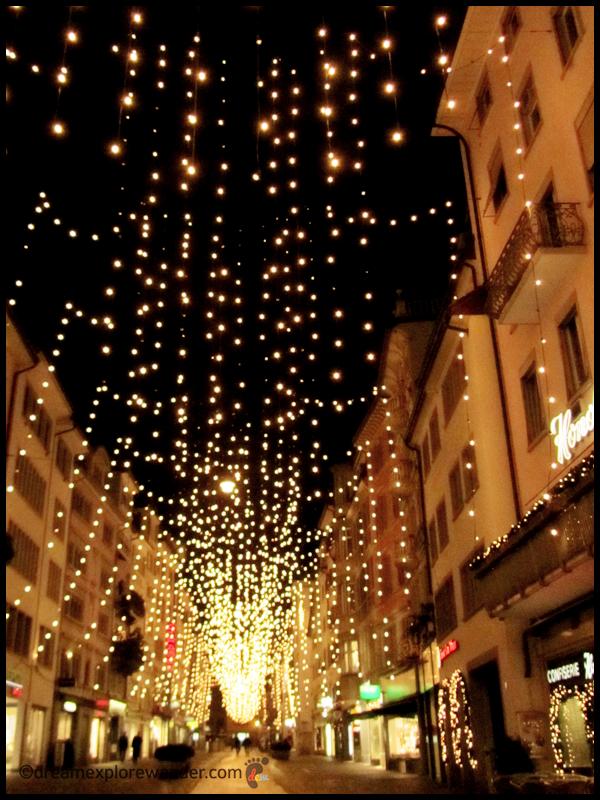 Street Lights In Zurich During Christmas Season Schweiz