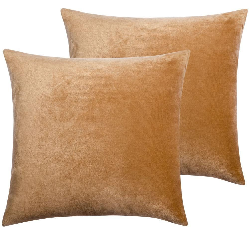 2 Pack Cozy Velvet Throw Pillow Cover - 18 x 18 inches / Camel