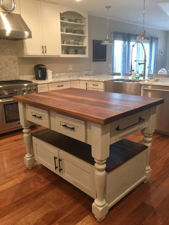 Make Your Own Butcher Block Kitchen Island : The Livingston Kitchen Island with Walnut Butcher Block Top in 2019 Make your own Butcher ...
