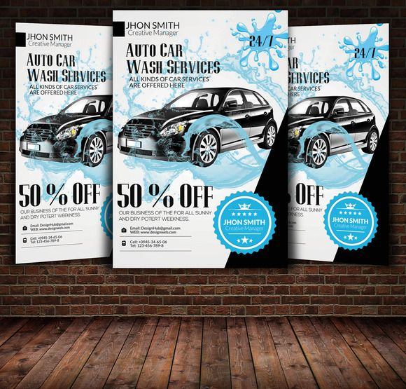 Car Wash Service Flyer Template by Leza on Creative Market