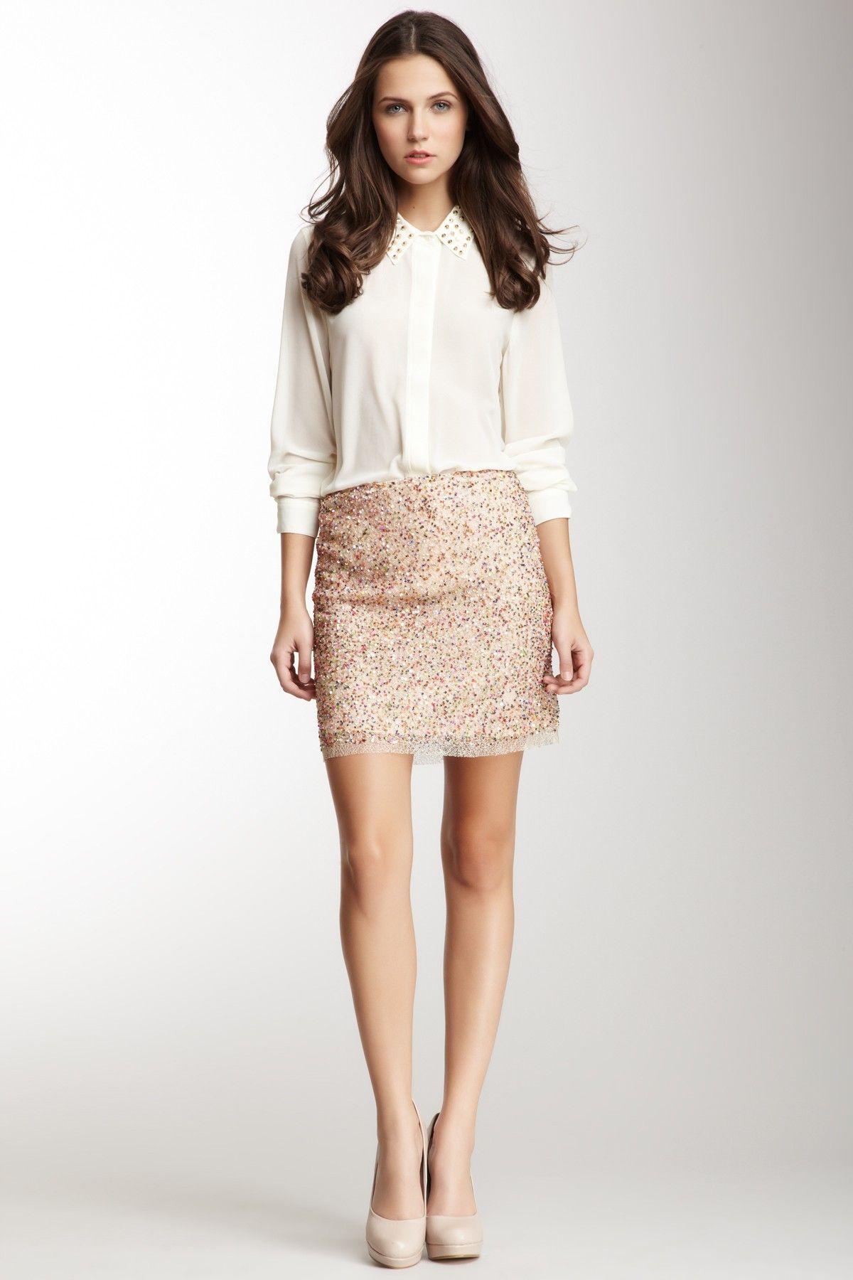 Romeo & Juliet Couture Beaded Mini Skirt on HauteLook