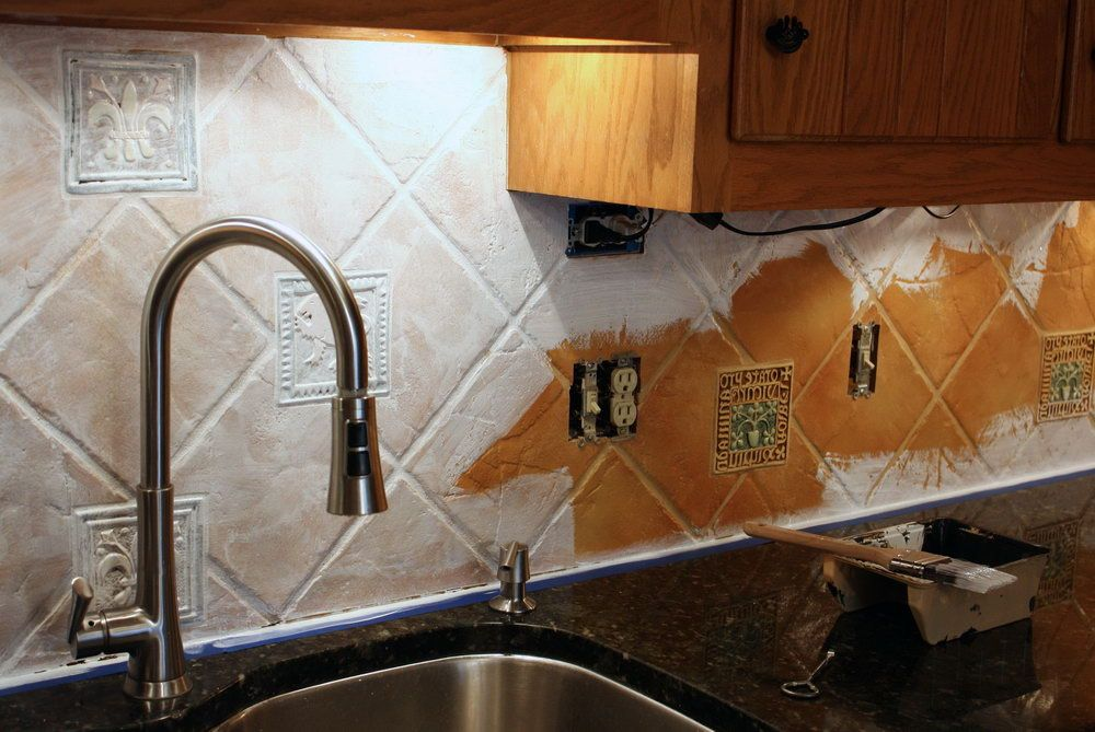Mixed Design White Ceramic Porcelain Tile Backsplash Painting Interesting Tile And Backsplash Ideas Painting