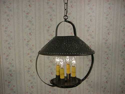 Vanity Light Wood Metal With Punched Tin Lamp Shades: OLD ANTIQUE RUSTIC COLONIAL PRIMITIVE LOOKING HANDCRAFTED