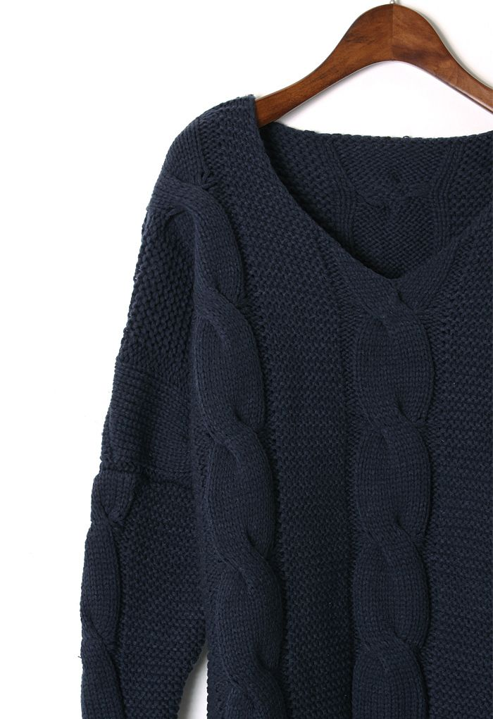 Classic Cable Knit Puff Sleeve Sweater in Navy - Sweaters - Tops - Retro, Indie and Unique Fashion
