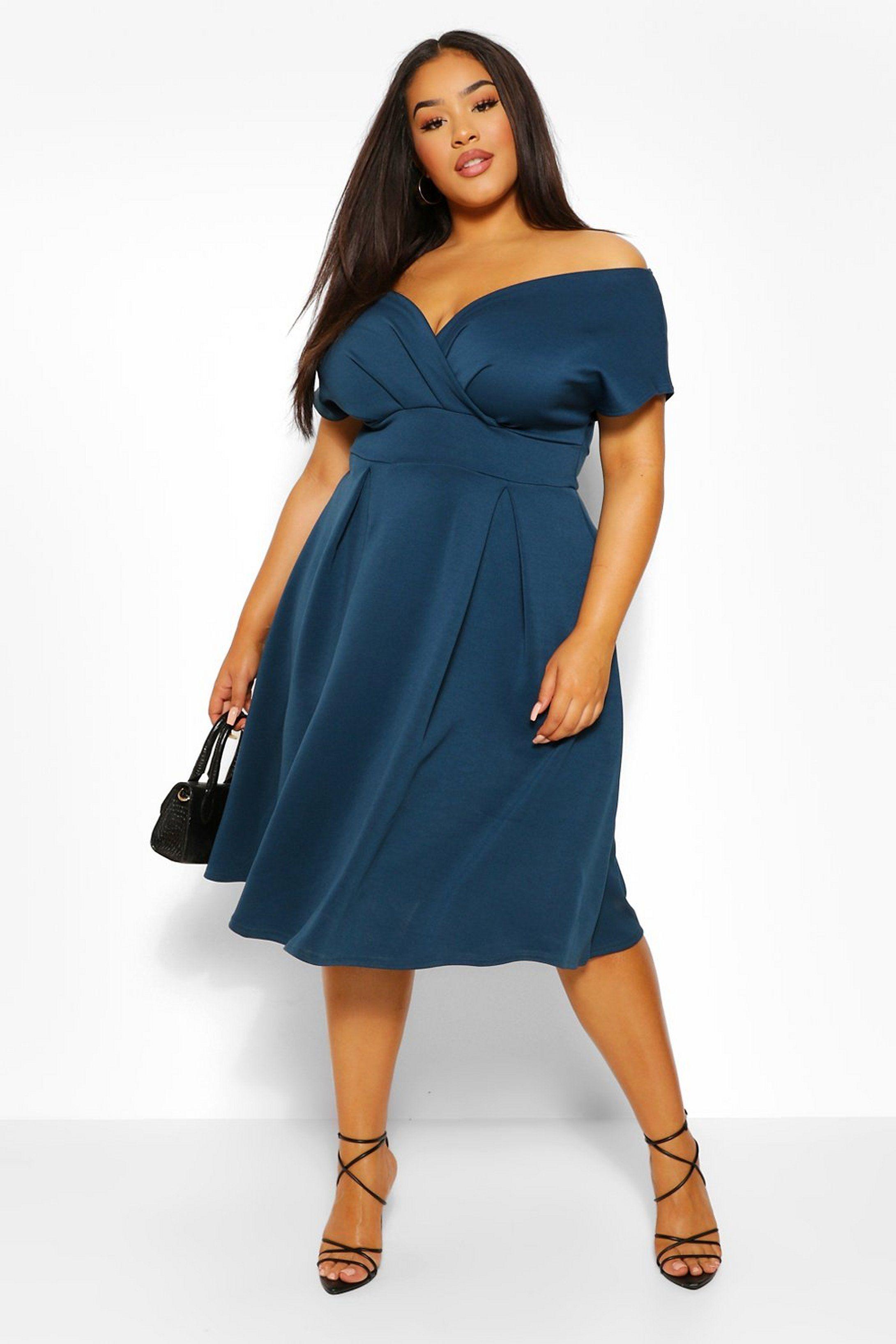 Plus Off The Shoulder Wrap Midi Dress Boohoo Plus Size Wedding Guest Dresses Dresses For Apple Shape Wrap Dress Curvy [ 3272 x 2181 Pixel ]