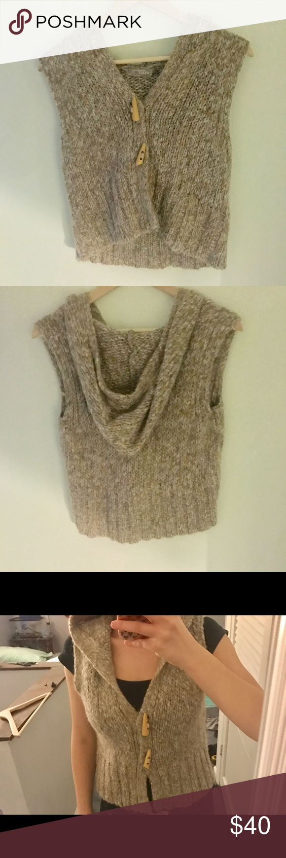 Zara sweater vest Super cute Zara sweater short vest!! Has wooden ...