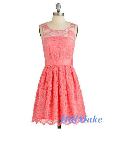 Light Coral Lace Bridesmaid Dress,Lace Prom Dress,Short Lace Dress ...