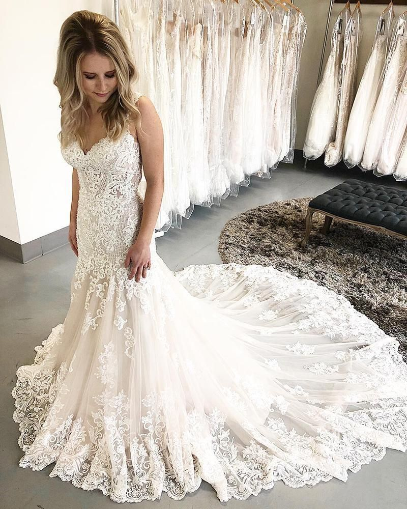 Gorgeous Mermaid Lace Long Bridal Gown with Train ...