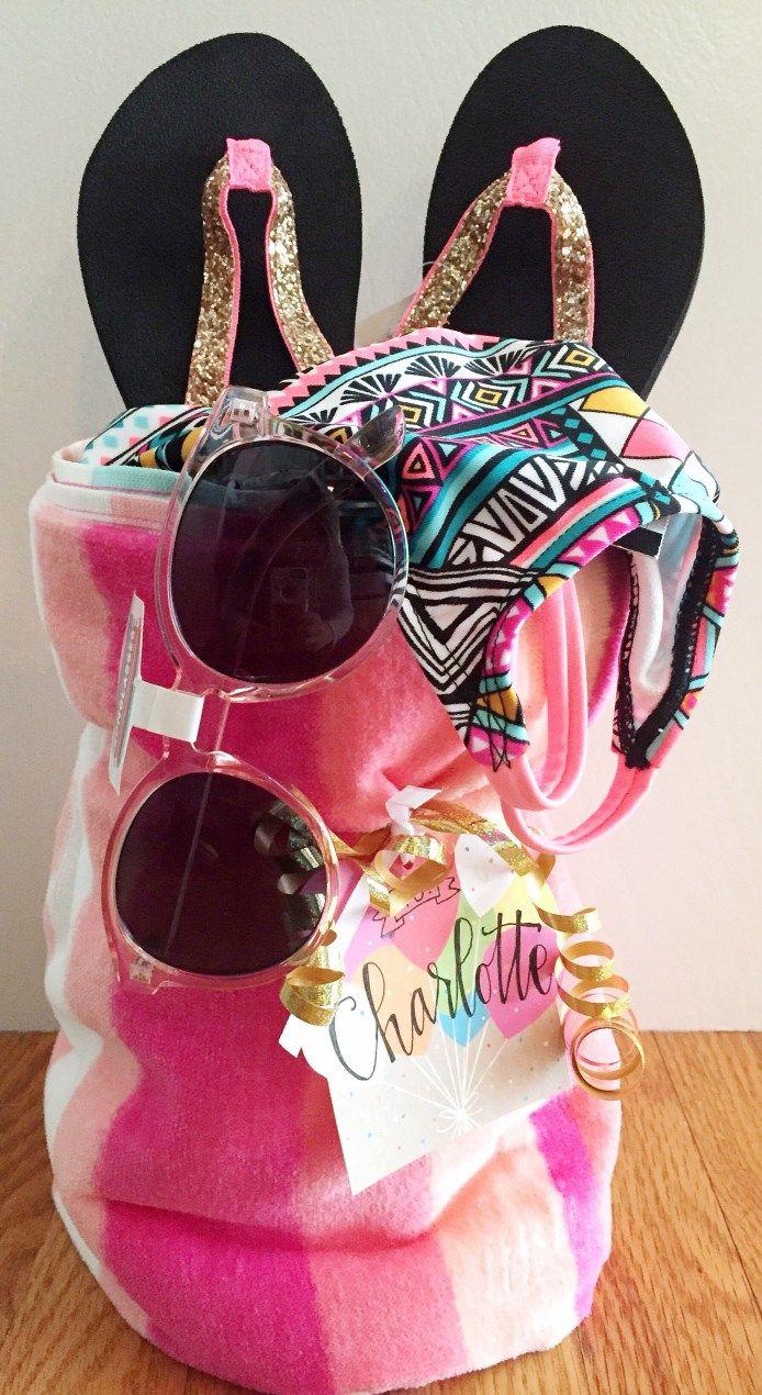 Spring Towel Gift Basket Beach towel gift basket, Beach