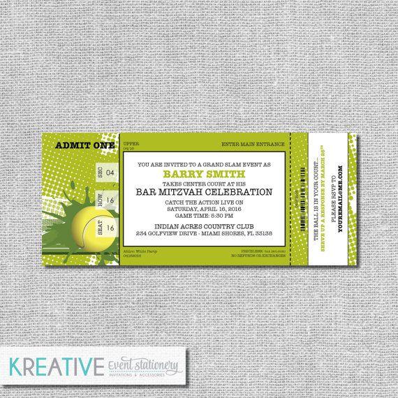 Birthday Tennis Invitation Ticket Tennis Theme Birthday GRAND SLAM  #00125-PI10 Personalized Printable File or Print Package