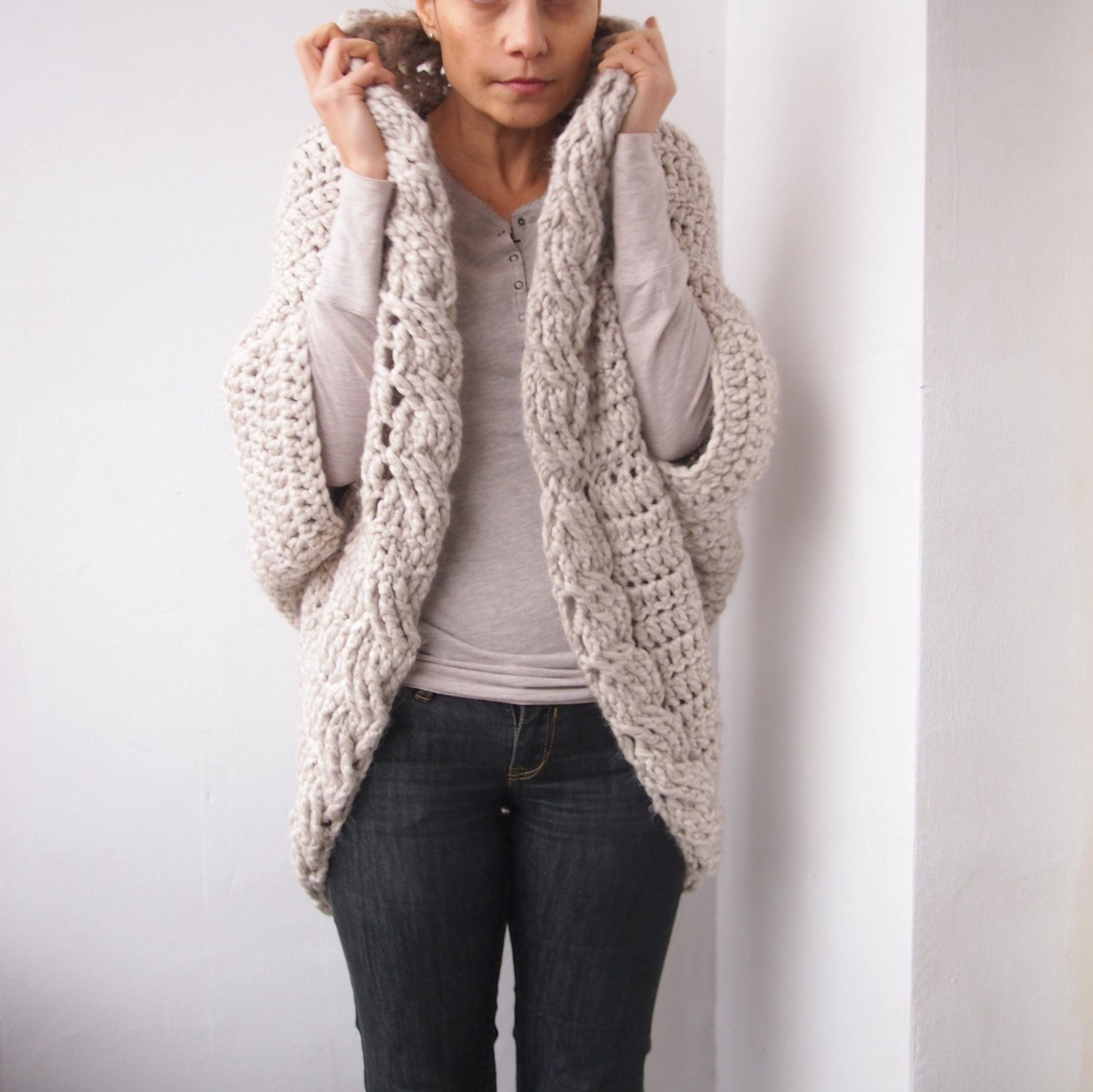 Crochet Pattern cable women cocoon shrug bulky coat cardigan, plus ...