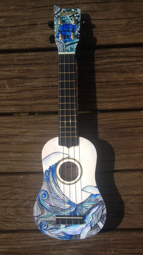 Hand decorated soprano ukulele guitar whales guitars for Decoration ukulele