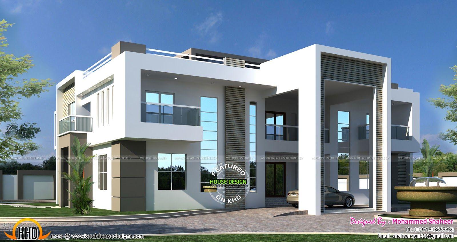 Flat Roof Arabian House Plan Kerala House Design Beautiful House Plans Architectural Design House Plans