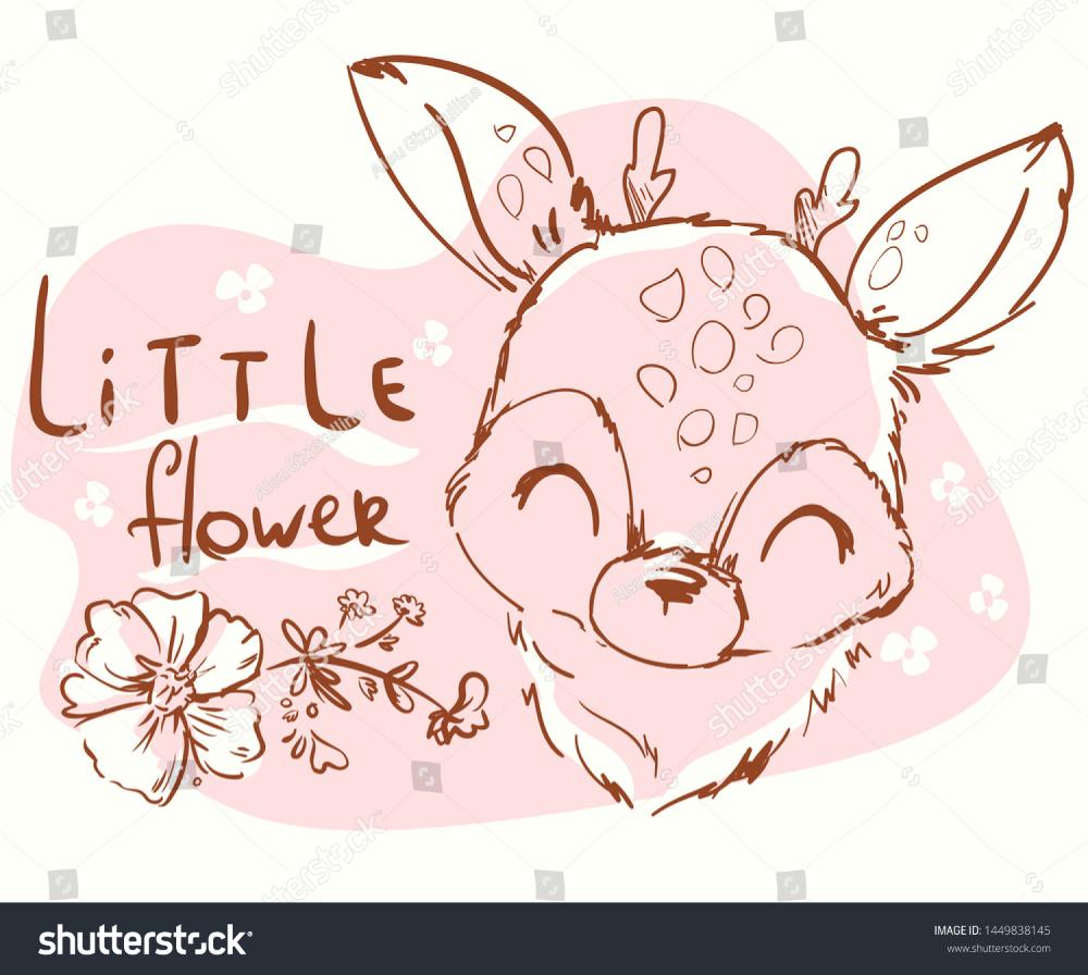 Hand Drawn Cute Deer Childish Illustration Stock Vector