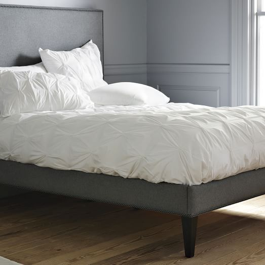 Narrow-Leg Nailhead Upholstered Bed Frame - Heather Gray ...