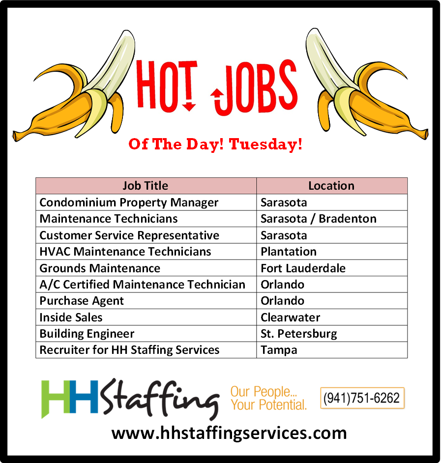 Hey #jobseekers! Don't let your #jobsearch drive you bananas! ;) Partner with us today and we can get you out to #work ASAP! Check out our hot #jobs of the day and apply with us at www.hhstaffingservices.com. If you have any questions regarding our #staffingservices, please give us a call at (941)751-6262. We look forward to #working with you!