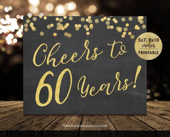 60th Birthday Decorations For Women Men Chalkboard Gold Centerpiece Sign Ideas Cheers To 60 Years An
