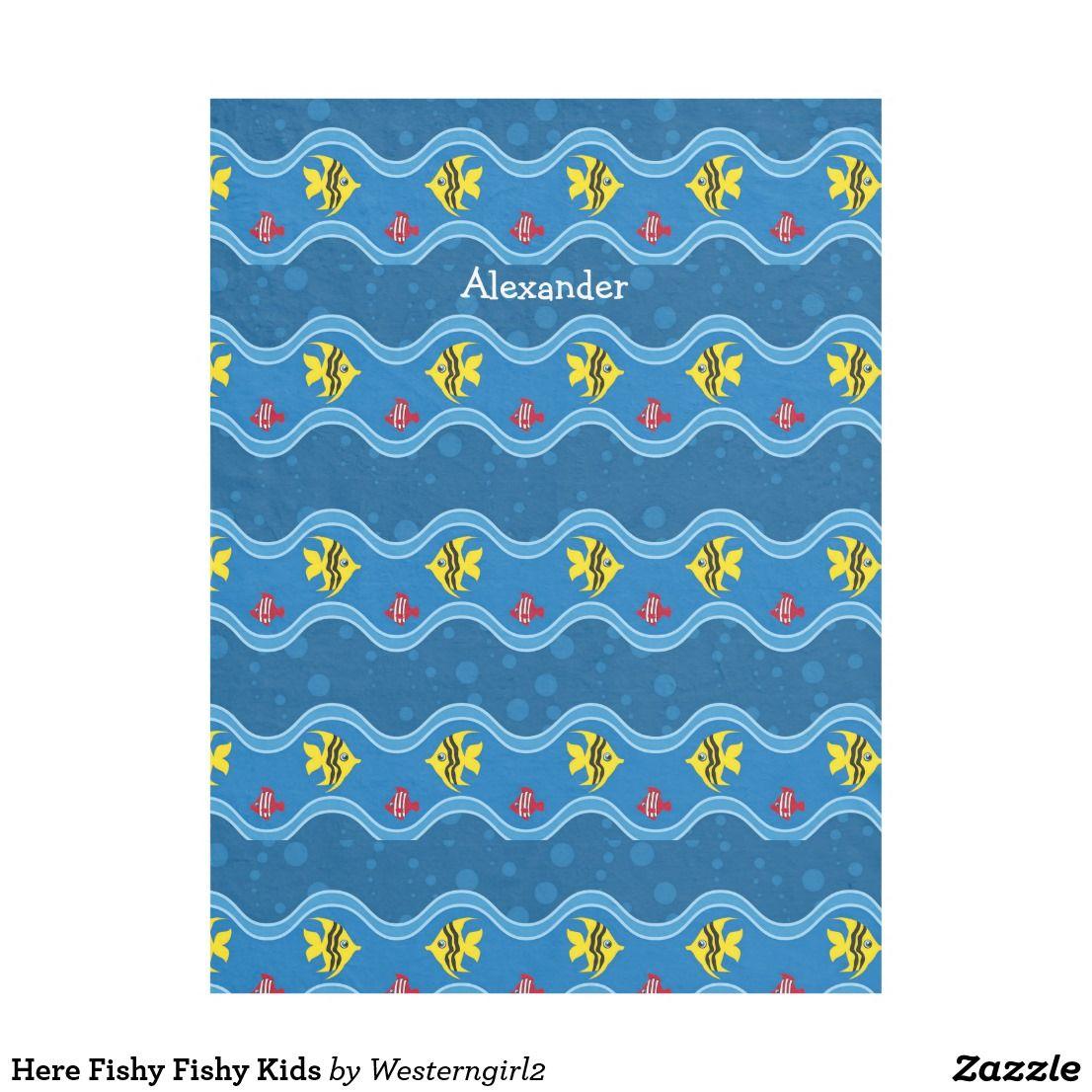Here fishy fishy kids fleece blanket all things zazzle pinterest