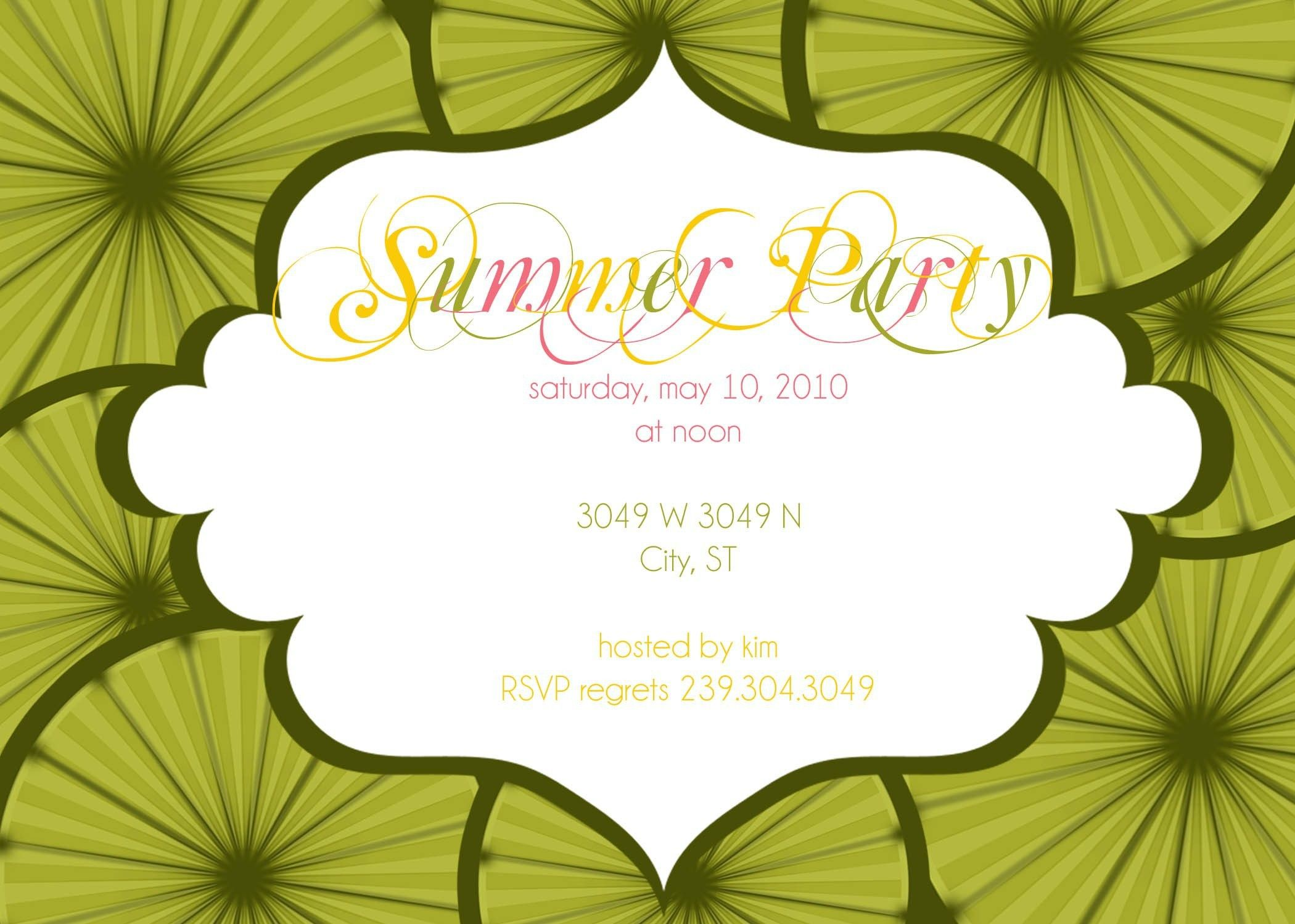 summer party invitation wording samples – Custom Party Invitation