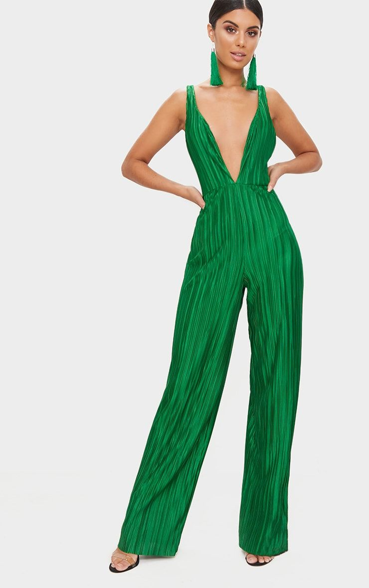 c4badbdaea56 Green Plisse Plunge Strappy Jumpsuit. Shop the range of jumpsuits    playsuits today at PrettyLittleThing. Express delivery available. Order now