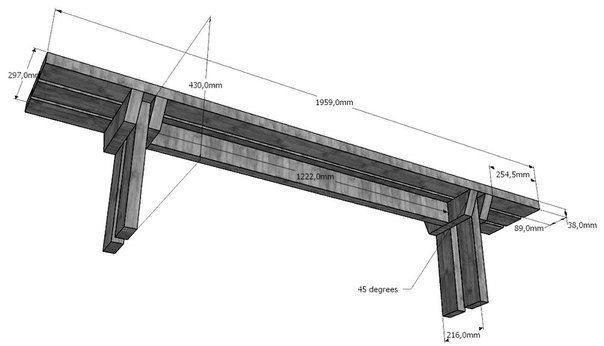 Ideas para el hogar Mesa con bancos en madera con todos los planos