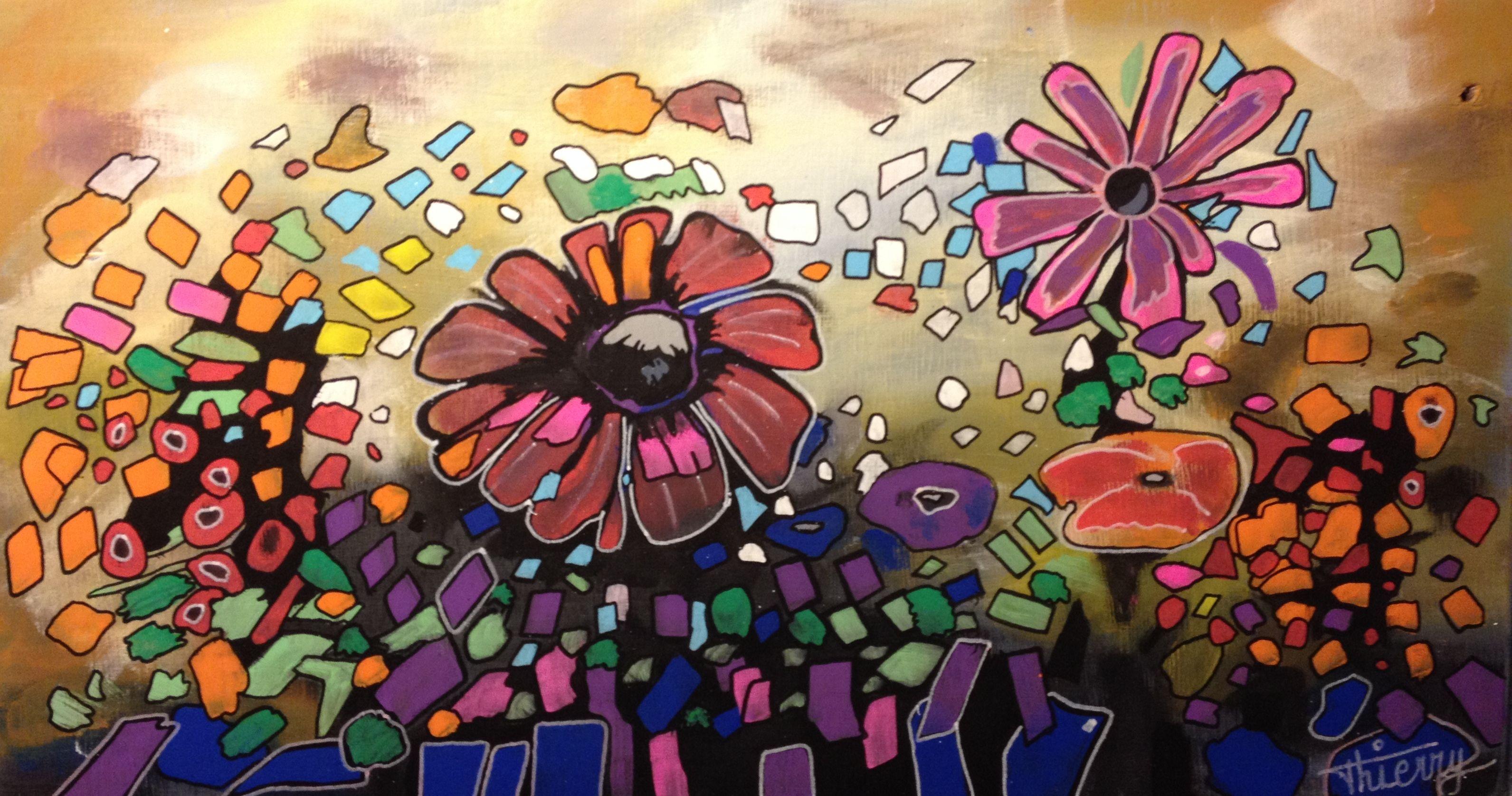 Essai floral aux multiples couleurs. Je pense qu'il faudrait réduire le nombre de couleurs et garder le côté mouvement. A réessayer.