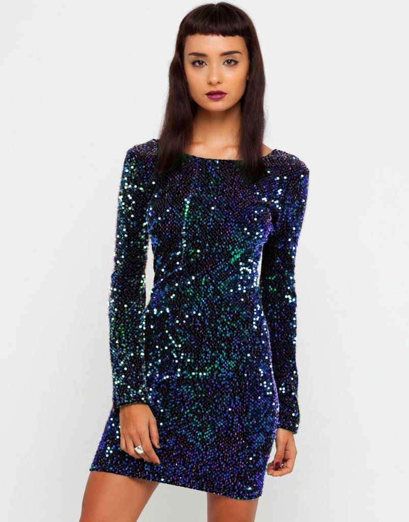 Sexy new night club party casual long sleeve iridescent sequined