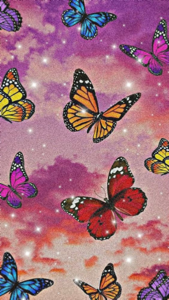 Aesthetic Purple Butterfly Background