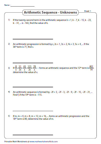 Arithmetic Sequence: AP in algebraic expressions: Find the ...