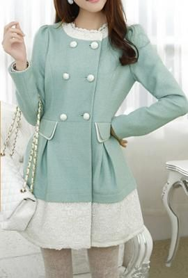 Winter Gala Lace Trimmed Swing Coat in Mint Green | Sincerely ...