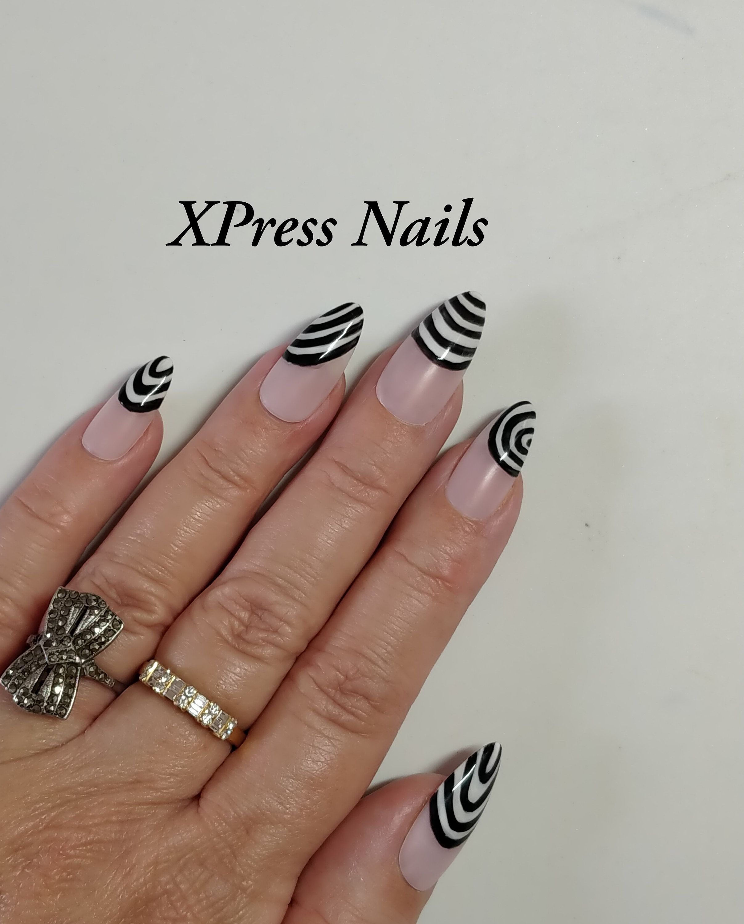 Black And White Stripe Swirls 1960s Op Art Style Hand Etsy In 2020 Nails Press On Nails Glue On Nails