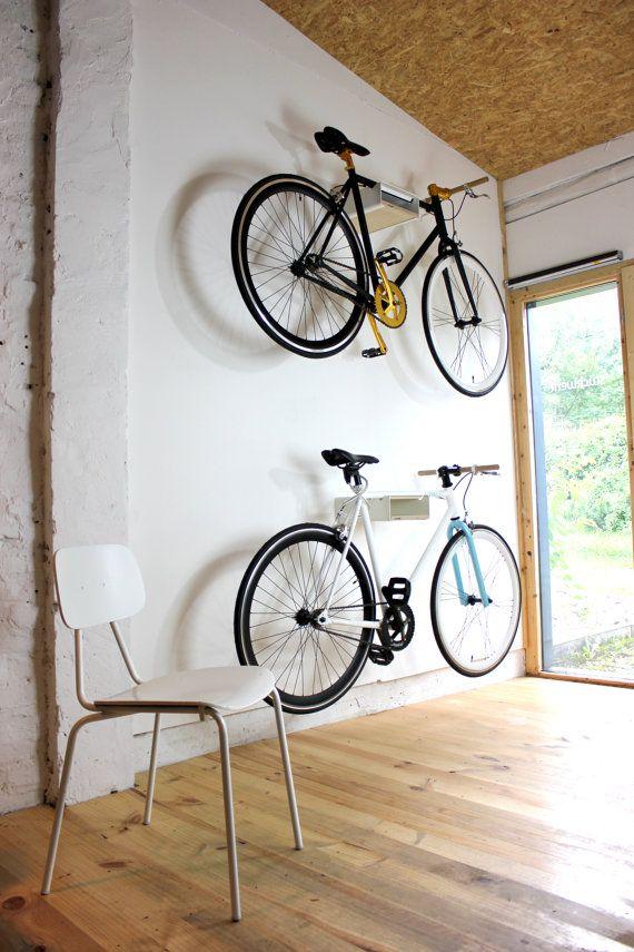 practical and foldable for hanging space-saving URBAN ZWEIRAD bicycle wall bracket garage wall mount metal bike shelf