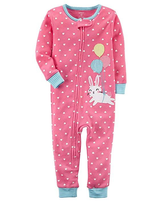 eec0cad3e Carter s Baby Girls  1-Piece Snug Fit Cotton Footless Pajamas (Bunny ...