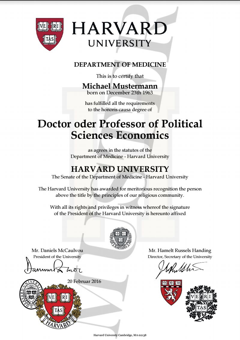Doktortitel kaufen Harvard | HONORARY DEGREE CERTIFICATE HARVARD ...