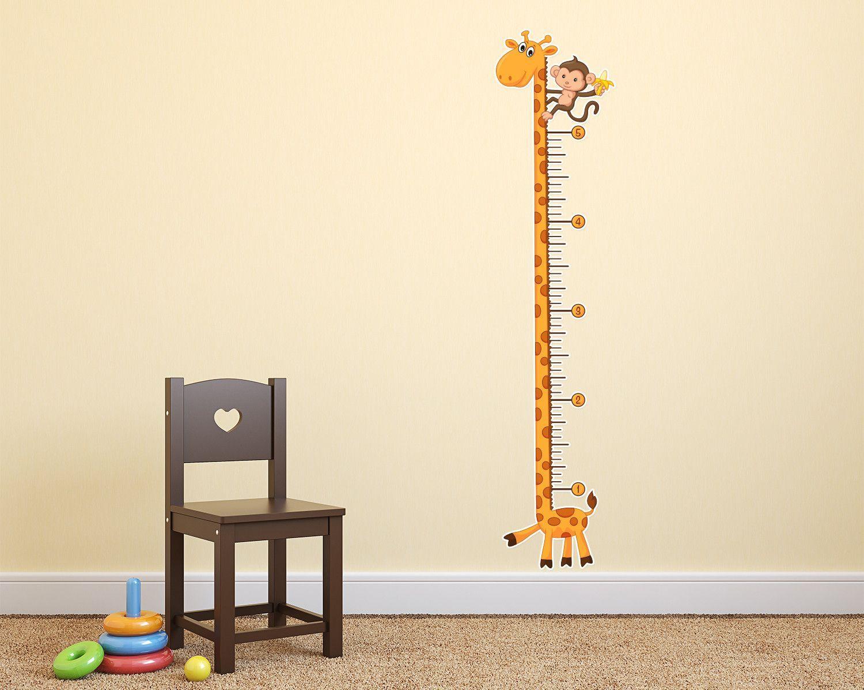 Giraffe growth chart wall decal nursery children room pinterest