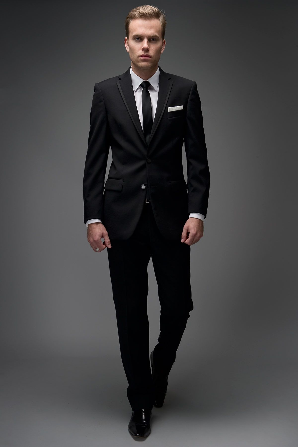 ff005093ff2d 2 Button Satin Edge Slim Fit Suit | Gwen & Harry's Wedding | Black ...