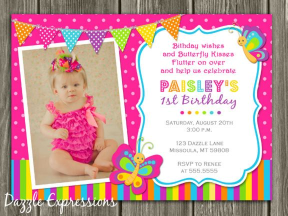 Butterfly first birthday photo invitation free thank you card butterfly first birthday photo invitation free thank you card included printable become a filmwisefo Gallery