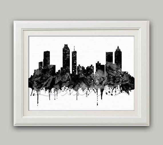 Atlanta Black White Watercolor Print Atlanta Wall Art Skyline ...