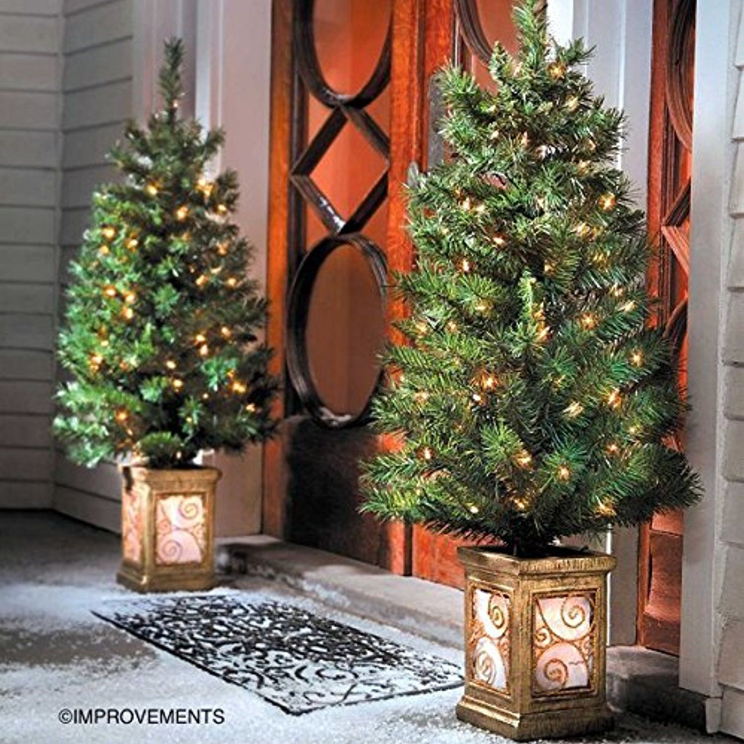 4 Ft Pre Lit Entryway Christmas Trees Set Of 2 By Improvements Details Can Be Fou Outdoor Holiday Decor Pre Lit Christmas Tree Christmas Greenery Decor