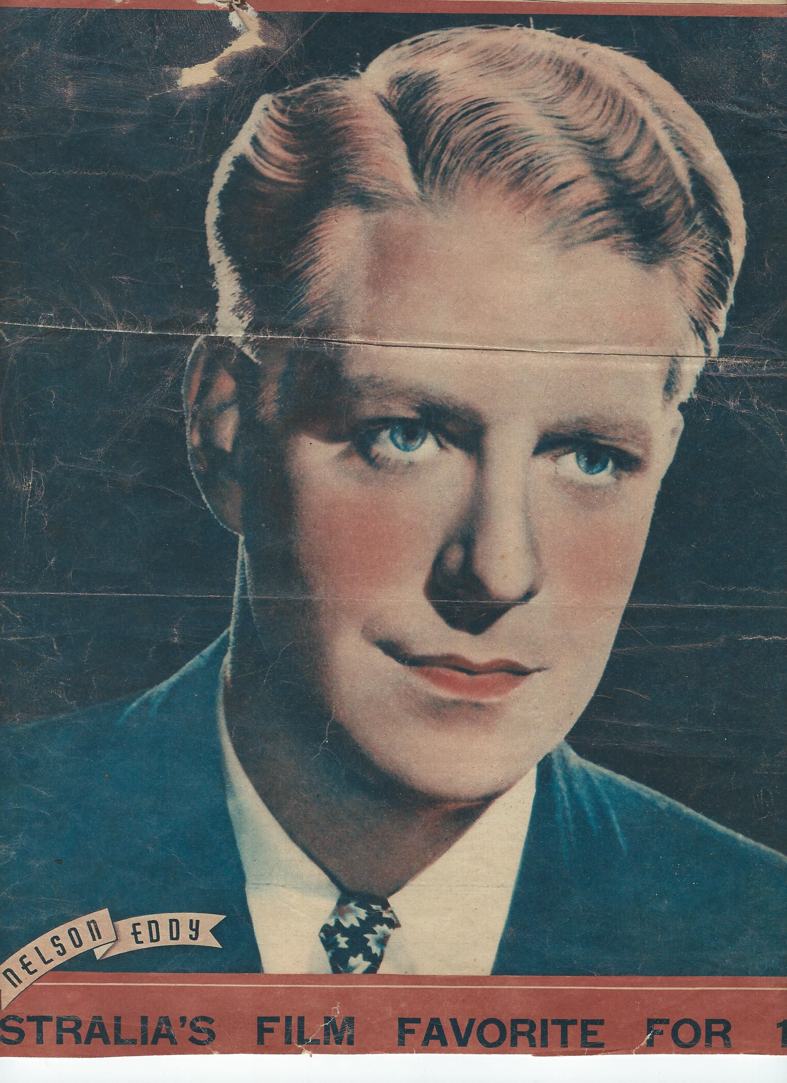 From australia a magazine color portrait of nelson eddy publication dated december 19 1938 caption below says australias film favorite for 1938
